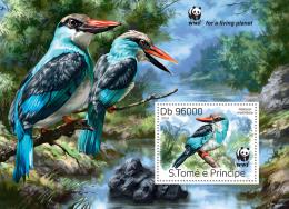 st14320b S.Tome Principe 2014 WWF Bird Kingfisher s/s