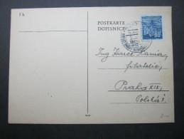 1945, Postkarte Mit Eisenbahn  Stempel - Czechoslovakia