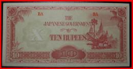 ★BURMA★ 10 RUPEES (1942-1944) JAPAN OCCUPATION! LOW START★NO RESERVE! - Myanmar