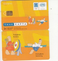 GREECE - Athens 2004 Olympics, Mascot Phoebus-Athena 11(Archery, Swimming), 07/04, Used - Jeux Olympiques