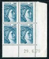 """Bloc** De 4  Timbres De 1977-78  """"0,15 - Marianne De Gandon -  Type Sabine"""" Avec Date  29 . 6 . 79 - 1970-1979"""