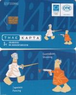 GREECE - Athens 2004 Olympics, Mascot Phoebus-Athena 6(Fencing, Shooting), 07/03, Used - Olympische Spelen