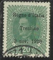 TRENTINO ALTO ADIGE 1918 SOPRASTAMPATO AUSTRIA OVERPRINTED H 20 HELLER VERDE CHIARO USATO FIRMATO USED SIGNED - 8. Occupazione 1a Guerra
