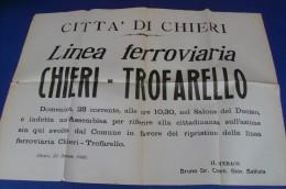 C1517 - MANIFESTO CITTA´ DI CHIERI 1960 - TORINO - LINEA FERROVIARIA CHIERI-TROFARELLO - TRENI - Plakate