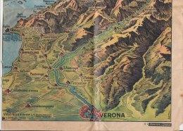 C1535 - CARTINA PLASTIGRAFICA LAGO DI GARDA - ILLUSTRATORE PAT Da DOMENICA DEL CORRIERE Anni '60 - Mappe
