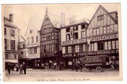 Reims - Place Des Marchés  - Attelage Blanchisserie Guillochin - Carte Précurseur  -scan Recto-verso - Reims