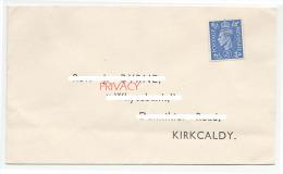 BUSTA NON SPEDITA CON FRANCOBOLLO GIORGIO VI POSTAGE REVENUE 2 1/2 KIRKCALDY SCOTLAND - 1902-1951 (Re)