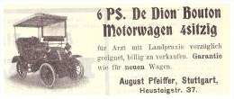 Original Werbung - 1905 - Motorwagen 6 PS , De Dion Bouton , A. Pfeiffer In Stuttgart , Moto , Automobile !!! - KFZ