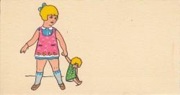 Thematiques Mignonette Mini CP 120 X 65 Cartes Voeux Illustrateur Sans Signature Sans Legende Fillette Et Poupée - Illustrateurs & Photographes