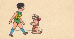 Thematiques Mignonette Mini CP 120 X 65 Cartes Voeux Illustrateur Sans Signature Sans Legende Fillette Chien De Cirque - Illustrateurs & Photographes