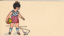 Thematiques Mignonette Mini CP 120 X 65 Cartes Voeux Illustrateur Sans Signature Sans Legende Fillette Et Oie - Illustrateurs & Photographes