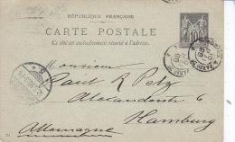 Gironde,  Bordeaux à Paris Ambulant Sur Sage Sur Carte Entier - Marcophilie (Lettres)