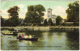 Promenade & St Raphael's Church, Surbiton Colour Postcard 1907 - Surrey