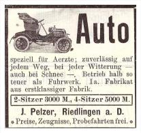 Original Werbung - 1905 - J. Pelzer In Riedlingen A.D. , Moto , Automobile !!! - KFZ