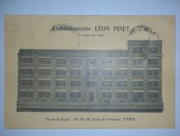 PARIS - Etablissement Léon Pinet  Cours De Vincennes - XII ( 12° ) Arrondissement / Obliteration Paris R. Du Rendez Vous - Arrondissement: 20