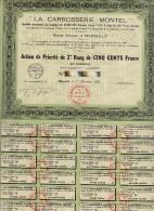ACTION DE PRIORITE DE 2E RANG DE 500 FRS -LA CARROSSERIE MONTEL- 1921 - Automobile