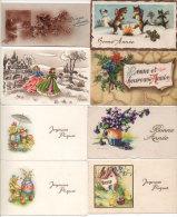 8 Mignonettes - Paysages De Neige, Fleurs, Chats, Bonhomme De Neige, Poussins, Oeufs, Enfants ... (72738) - Fancy Cards