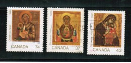 CANADA 1988,USED, #1222-4, CHRISTAMS ICONES, SET OF 3.  Mother Son   Mere Fils - Oblitérés