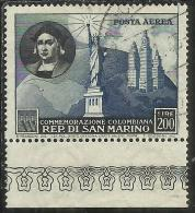 SAN MARINO 1952 CRISTOFORO COLOMBO 5° CENTENARIO NASCITA BIRTH CENTENARY POSTA AEREA AIR MAIL LIRE 200 USATO USED - Usati