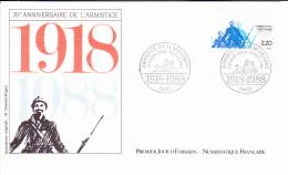 PARIS (75), Armistice Du 11 Novembre, 70 ème Anniversaire, Poilu, Dessin M. Durand-Mégret, FDC, 10/09/1988 - FDC