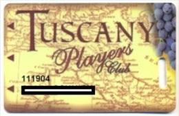 Tuscany Casino, Las Vegas, older used slot or players card, tuscany-2