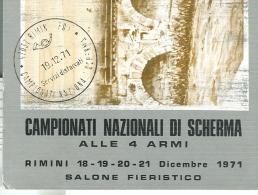 CAMPIONATI NAZIONALI DI SCHERMA, RIMINI 1971, ANNULLO SPECIALE SU CARTOLINA DEDICATA, - Scherma