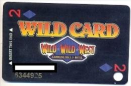 Wild Wild West Gambling Hall & Hotel, Las Vegas, U.S.A. older used  slot card, wildwildwest-1