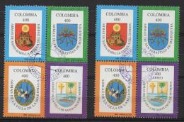 A843.-.KOLUMBIEN / COLOMBIA.- 1996.-.  MI # : 2009-12 I, II.-.USED BLOCKS .-. CV € : 26.00 .-. ARMS COATS- ERROR - Colombia