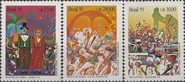 BRAZIL - COMPLETE SET BRAZILIAN CARNIVALS 1991 - MNH - Carnival