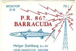 Barracuda On Very Old QSL Card From Holger Dahlberg, Hägersten, Sweden (P.R. 867) - Year 1970 - CB