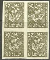 LITAUEN Lithuania Litva 1921 Michel 92 U In 4-block MNH/MH - Lithuania