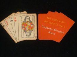 VINTAGE !! 1 Set Of  Singapore Captain Morgan Rum 4 Ace Card Beer Mat Coaster - Beer Mats