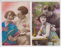 COUPLE - 2 Cartes - Dont L'une : LA RAQUETTE - Sport De Dame - Couples