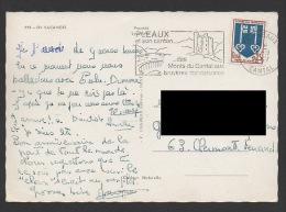 DF / SUR CARTE POSTALE  / TP 1469 ARMOIRIES DE MONT DE MARSAN / OBL PLEAUX 1967 CANTAL FLAMME PLEAUX ET SON CANTON ... - Covers & Documents