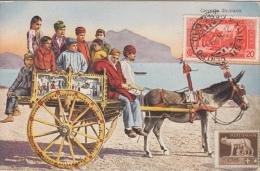 Trieste   Carretto , Siciliano     Kar Met Ezel   UGO VIGNI Stempel Achterzijde    Scan 8400 - Trieste