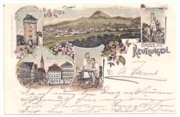Litho AK GRUSS AUS REUTLINGEN - Wilhelmstraße, Lichtenstein, Gartentor 1898 - Reutlingen