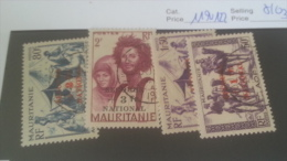 LOT 227141 TIMBRE DE COLONIE MAURITANIE NEUF*  OBLITERE N�119 A 122 VALEUR 30 EUROS