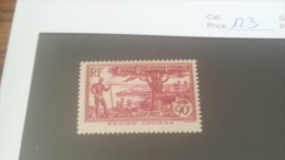 LOT 227161 TIMBRE DE COLONIE COTE IVOIRE NEUF* N�123 VALEUR 11 EUROS