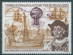 French Antarctic (FSAT), Christopher Columbus, Discovery Of America, 1992, MNH VF  Air Post - Airmail