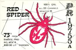 Spider Araignée On A Very Old QSL Card From Svante Frid, Lit, Sweden (PR 19755A) - Year 1971 - CB
