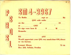 Very Old QSL Card From Lennart Bloom, Sellnäs, Sweden (SM4-3967) - Year 1968 - CB