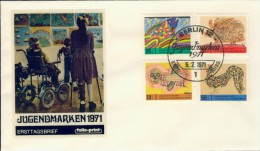 BL6-111 WEST BERLIN 1971 FDC MI 386-389 CHILDREN'S DRAWINGS, KINDERZEICHNUNGEN, KINDERTEKENINGEN. - Kindertijd & Jeugd