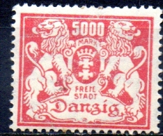 DANZIG 1923 Arms -  5000m. - Pink  MH - Danzig