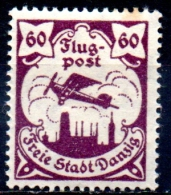 DANZIG 1921 AIR. Sabaltnig PIII Plane Over Danzig - 60pf. - Purple  MH - Danzig