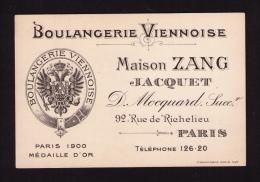Rare Ancienne Carte Boulangerie Viennoise, Maison ZANG JACQUET, Rue De Richelieu, Paris, - Publicités
