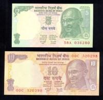 INDIA MAHATMA GANDHI 2 BANKNOTES 5 & 10 RUPEES P88a P89a UNC * FARMING TIGER ELEPHANT RHINO - India