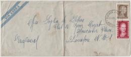 ARGENTINA - ARGENTINE - 1954 - VIA AEREA- AIR MAIL - Eva Peron 50c + 2 Pesos - Viaggiata Da Buenos Aires Per London - Argentina