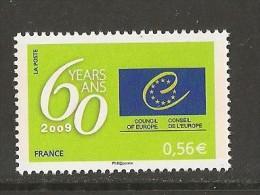 FRANCIA / FRANCE .- CONSEJO  DE EUROPA.-  60º ANIVERSARIO DEL CONSEJO DE EUROPA.-  Serie De 1 V. - 2009