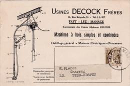 FAYT-LEZ-MANAGE-VERS-NEER HESPEN-1934-USINES-DECOCK FRERES-MACHINE A BOIS SIMPLES ET COMBINEES-CARTE PUBLICITAIRE-2 SCAN - Manage