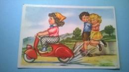 VESPA FARO BASSO, Umoristica, Bambini. Originale, Viaggiata 1959 - Moto